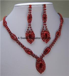 RED SIAM FAUX RUBY BRIDAL BRIDE CRYSTAL NECKLACE SET