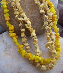 NEW YELLOW OFF WHITE WESTERN NUGGET STONE NECKLACE SET