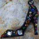 NEW BLACK HIGH HEEL SHOE CRYSTAL RHINESTONE BRACELET