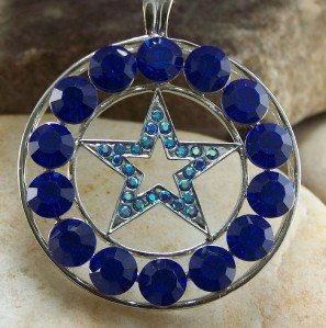 NEW BLUE WESTERN LONESTAR STAR 40 CRYSTAL PENDANT