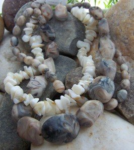 NEW BROWN OFF WHITE WESTERN NATURAL NUGGET NECKLACE SET