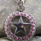 NEW WESTERN PINK STAR LONESTAR CRYSTAL NECKLACE SET