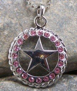 NEW WESTERN PINK STAR LONESTAR CRYSTAL NECKLACE SET