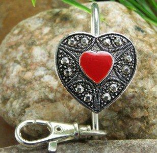 NEW RED HEART LOVE PURSE KEYCHAIN KEY CHAIN FINDER