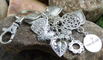 NEW ANTIQUE STYLE TREE OF LIFE HEART BUTTERFLY KEYCHAIN