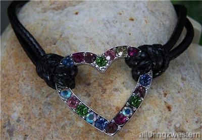 NEW BLACK WESTERN COWGIRL HEART LOVE CRYSTAL BRACELET