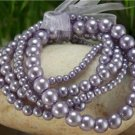 NEW PURPLE FAUX PEARL GLASS BEAD RIBBON BRACELET