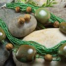 NEW BOHO GREEN MIXED MULTISTRAND SEED BEAD NECKLACE SET