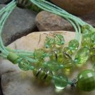 NEW GREEN MULTISTRAND LUCITE SEED BEAD NECKLACE SET