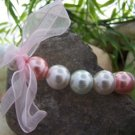 NEW PINK WHITE FAUX PEARL RIBBON BRACELET