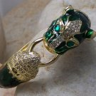 NEW GREEN COUGAR CAT PANTHER ANIMAL 100 CRYSTAL BANGLE