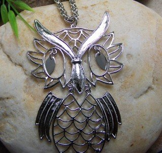 NEW ANTIQUE STYLE OWL BIRD SILVER TONE NECKLACE SET