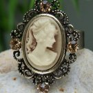 NEW BROWN PORTRAIT LADY CAMEO ADJUSTABLE 4 CRYSTAL RING