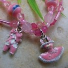 NEW GIRLS KID PINK BALLET SHOES BALLERINA BEAD BRACELET