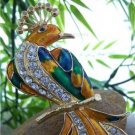 NEW MULTI COLOR PEACOCK ANIMAL BIRD 42 CRYSTAL BROOCH