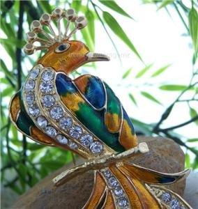 NEW MULTI COLOR PEACOCK ANIMAL BIRD 42 CRYSTAL BROOCH