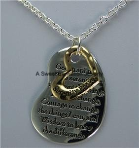SERENITY PRAYER AA ALCHOLICS ANONYMOUS HEART NECKLACE