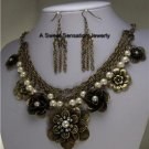 BLACK PEARL FLOWER FLORAL ANTIQUE STYLE NECKLACE SET