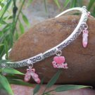 NEW PINK I LOVE BALLET SHOES BALLERINA BANGLE BRACELET