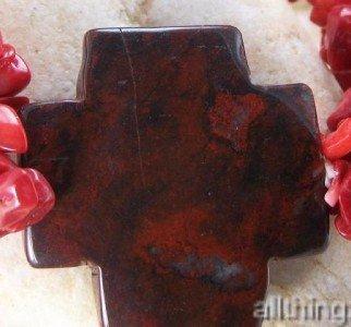 NEW RED RELIGIOUS WESTERN NATURALSTONE CROSS BRACELET