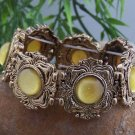 NEW YELLOW VICTORIAN STYLE GOLD TONE BANGLE BRACELET