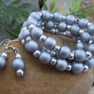 NEW 4 PIECE SILVER METALLIC WOOD BRACELET & EARRING SET