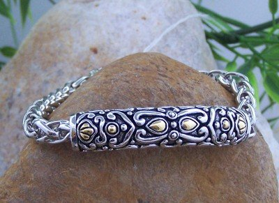 NEW VICTORIAN STYLE GOLD EP SILVER TONE METAL BRACELET
