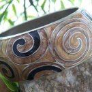 NEW BROWN BLACK SWIRL METAL HINGE BANGLE BRACELET