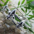 NEW FRENCH FLEUR DE LIS SILVER TONE BANGLE BRACELET