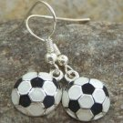 NEW BLACK WHITE SOCCER SPORTS FAN TEAM PLAYER EARRINGS