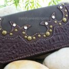 NEW BROWN WESTERN COWGIRL RHINESTONE CHECKBOOK WALLET