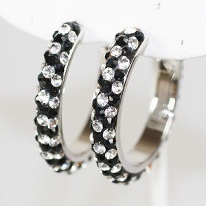 NEW CLEAR BLACK SWAROVSKI CRYSTAL HOOP EARRINGS