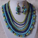 Multicolor Blue Green Glass Resin Bead Necklace Set