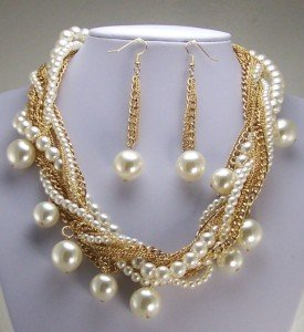 CREAM OFF WHITE FAUX PEARL NECKLACE SET