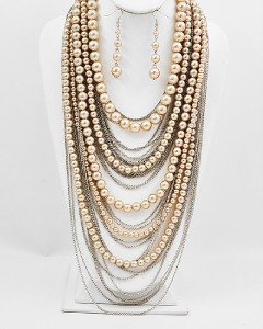 LT BROWN LAYERED CHAIN FAUX PEARL NECKLACE SET