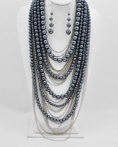 GREY GRAY LAYERED CHAIN FAUX PEARL NECKLACE SET