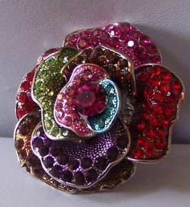 RED GREEN PINK MULTICOLOR ROSE FLOWER COCKTAIL RING