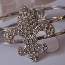 FRENCH FLEUR DE LIS FLOWER CRYSTAL BANGLE BRACELET