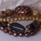 BROWN BLACK ANIMAL PRINT LEOPARD MULTISTRAND BRACELET