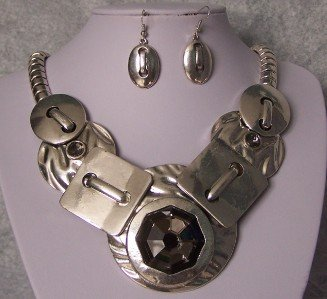 CHUNKY GRAY GREY METAL ART SILVER P NECKLACE SET