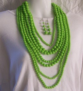 LIME GREEN 7 LONG LAYERED MULTISTRAND NECKLACE SET