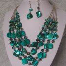 TURQUOISE BLUE SHELL GEMSTONE MULTISTRAND NECKLACE SET