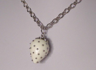 WHITE STRAWBERRY SILVER PLATED CHARM NECKLACE