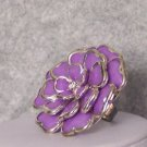 PURPLE LAVENDER CHUNKY FLOWER FLORAL COCKTAIL RING