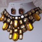 BROWN TOPAZ BLACK JEWELED BIB STATEMENT NECKLACE SET