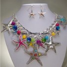 BLUE PINK GREEN CHUNKY STARFISH STAR FISH NECKLACE SET