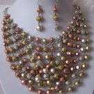 TRITONE BALL BEAD BIB STATEMENT METAL NECKLACE SET