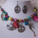 TURQUOISE BIRD PEACE ANGEL WING PEARL NECKLACE SET