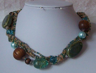BLUE BROWN MULTICOLOR GLASS PEARL MIX NECKLACE