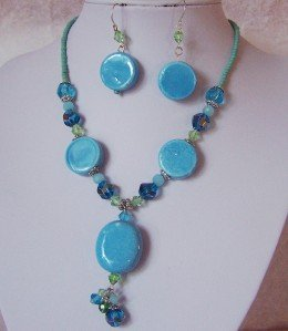 BLUE GREEN MIXED BEAD NECKLACE SET